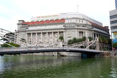 The Fullerton Hotel in the evening, Singapore Stock Photography
