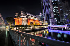 Fullerton Hotel in Luminance. The Fullerton Hotel all aglow in festive lights Stock Images