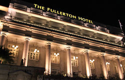 The Fullerton Hotel at Night, Singapore Stock Image