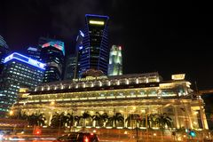 The Fullerton Hotel at Night, Singapore Royalty Free Stock Images
