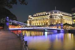 Fullerton Hotel and the Singapore CBD Skyline Stock Photo