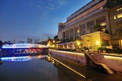 Fullerton Hotel and the Singapore CBD Skyline Stock Photography