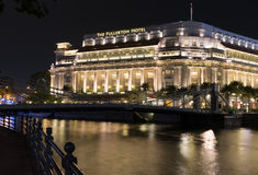 The Fullerton Hotel Singapore at night Royalty Free Stock Images