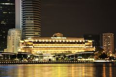 Fullerton Hotel in Singapore at night Stock Photography