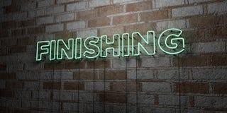 FULLFÖLJANDE - Glödande neontecken på stenhuggeriarbeteväggen - 3D framförde den fria materielillustrationen för royalty stock illustrationer