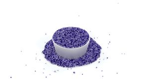 Fullfilled Metallic Cup of Shiny Purple and Sticky Fluid of many. Micro balls with many Overflowed Fluid around the Bowl with a White background stock illustration