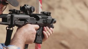 FullHD footage. Man shoots a carbine on the target. stock video footage