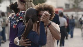 FullHD video of a dance festival salsa on the streets of Lisbon. stock footage