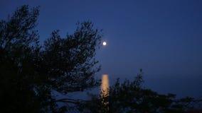 Fullmåne över havet på skymning stock video