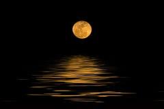Fullmåne över kallt nattvatten Royaltyfri Bild