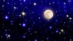 Fullmåne med stjärnan på mörk bakgrund för natthimmel