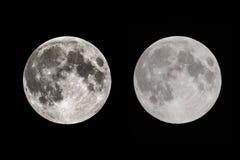 Fullmåne med två exponeringar på natten royaltyfria bilder