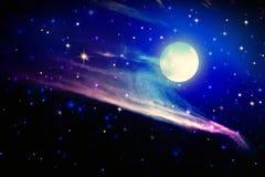 Fullmåne- och stjärnahimmel Royaltyfri Foto