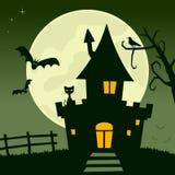 Fullmåne spökat hus Royaltyfri Fotografi