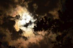 Fullmånen med att virvla runt fördunklar i sepiasignal Royaltyfri Bild
