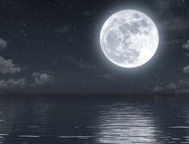 Fullmåneresning och tomt hav på natten stock illustrationer
