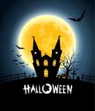 Fullmåne för Halloween husdeltagare Royaltyfri Foto