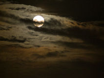 Fullmoon. Chan Chan, the full moon shining in the night sky shined with the cloud cover looked somber Royalty Free Stock Image