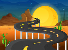 A fullmoon at the end of the winding road Stock Photography