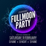 Fullmoon party design flyer. Disco party night. Vector dance poster template. Moon light illustration vector illustration