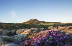 Fullmoon πέρα από τη φυσική ενδοχώρα στο εθνικό πάρκο ακτών Pembrokeshire, UK στοκ φωτογραφία με δικαίωμα ελεύθερης χρήσης
