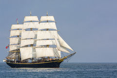 Fullrigger Georg Stage sailing. The Danish three-masted fullrigger Georg Stage at sail in light wind at southern Baltic sea. Georg Stage is a sail training ship Stock Photography