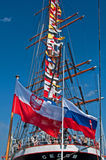 Fullrigger Sedov. Stern with flags of Russian fullrigger Sedov in Gdynia harbour, Poland Royalty Free Stock Photography