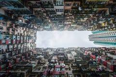 Fullsatt lägenhetsikt från botten i Hong Kong Royaltyfri Fotografi
