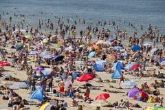 Fullsatt strand i sommar royaltyfria foton