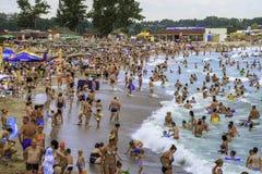 Fullsatt strand och folk i vågorna Arkivbild