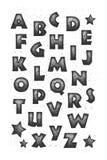 Fullt alfabet för Grunge Arkivbilder