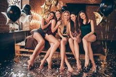Fullt foto för längdkroppformat av fem slanka färdiga spensliga studentdamer för trevlig charmig älskvärd romantiker som har unde royaltyfri bild