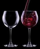 Fullt och tomt vinexponeringsglas Royaltyfri Bild
