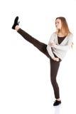 Fullt sparka för längdkvinna Royaltyfri Fotografi