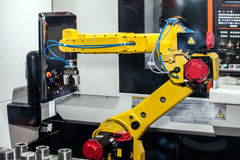 Fully automated CNC machining. With handling robot Stock Image