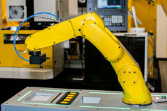 Fully automated CNC machining. With handling robot Stock Images