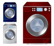 Fully automatic front loading washing machine. Illustration Royalty Free Stock Images