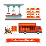Fully automatic production line and delivery truck. Being loaded with forklift. Flat vector icons Royalty Free Stock Photography