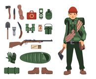 Fully bushcraft-equipped man with isolated bushcraft items nearby. Survival kit in details. Set of isolated images on. White background. Vector illustration Stock Images