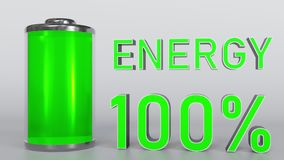 Fully charged battery. Energy indicator 3D rendering. Charged battery. Energy indicator 3D Royalty Free Stock Image