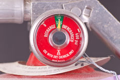 Fully Charged Meter. On Fire Extinguisher Stock Photo