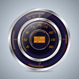 Fully digital speedometer rev counter in orange purple Royalty Free Stock Photo