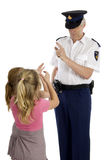 Fully dressed dutch police officer is warning Royalty Free Stock Photos