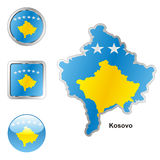 Fully editable vector flag of kosovo vector illustration