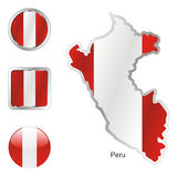 Fully editable vector flag of peru Stock Images