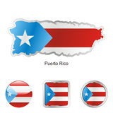 Fully editable vector flag of puerto rico. In map and web buttons shapes Royalty Free Stock Photo