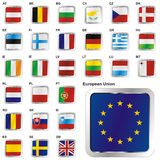 Fully editable vector illustration of flags of EU. Fully editable vector illustration of all twentyseven Member States of the European Union in web button shape Royalty Free Stock Image