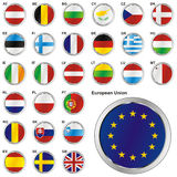 Fully editable vector illustration of flags of EU. Fully editable vector illustration of all twentyseven Member States of the European Union in web button shape Royalty Free Stock Photography
