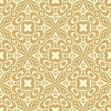 Fully filled crossed flowers n petals design seamless pattern background illustration in brownish gold and white colour stock illustration