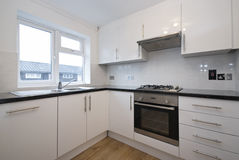Fully fitted modern kitchen in white. Fully fitted kitchen in white Stock Image